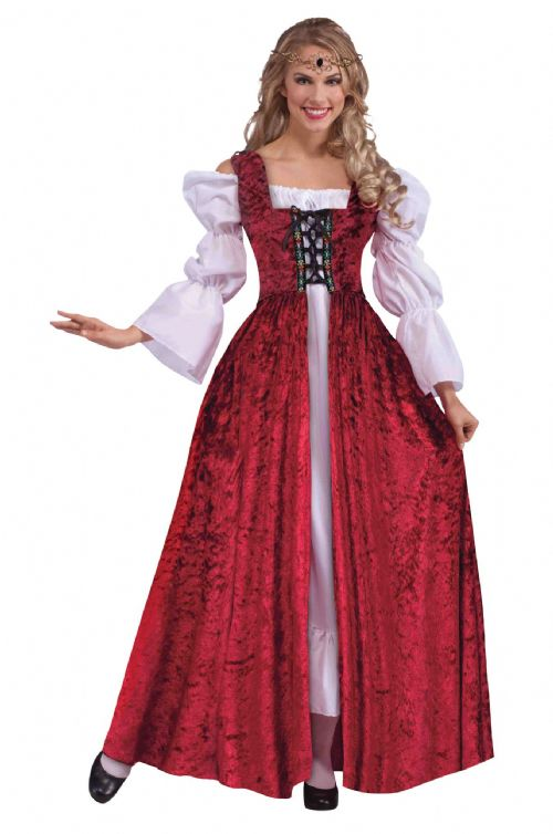Adults Medieval Lace Up Gown Costume Middle Dark Ages Fancy Dress Outfit